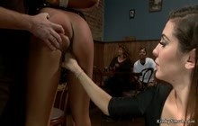 Ebony redhead gets fucked in public